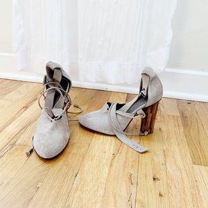 Free people grey suede heels
